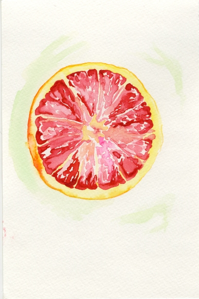 Grapefruit 1. Watercolor on paper.