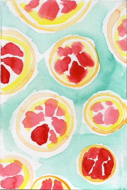 Grapefruit 3. Watercolor on paper.