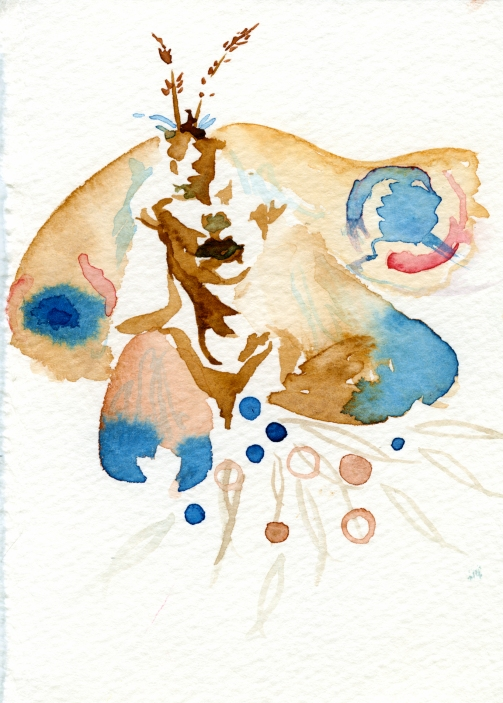 Mothlady. Watercolor on paper.