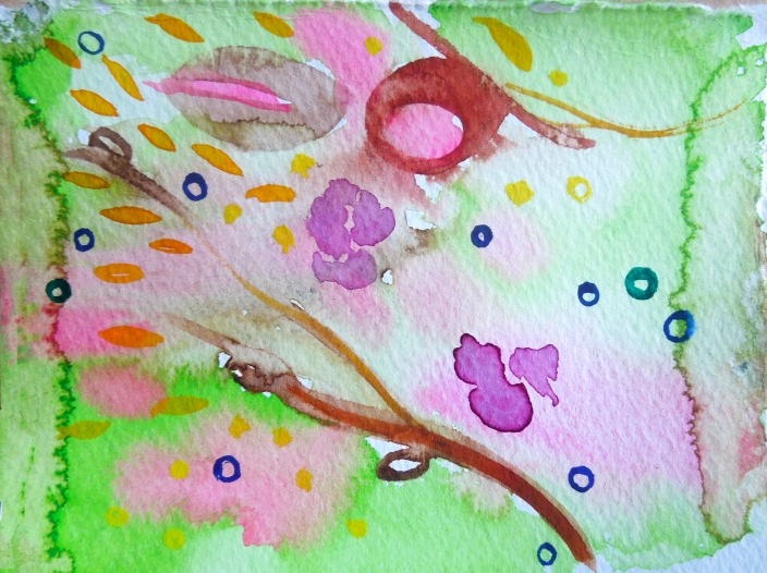 Spring? Watercolor on paper.
