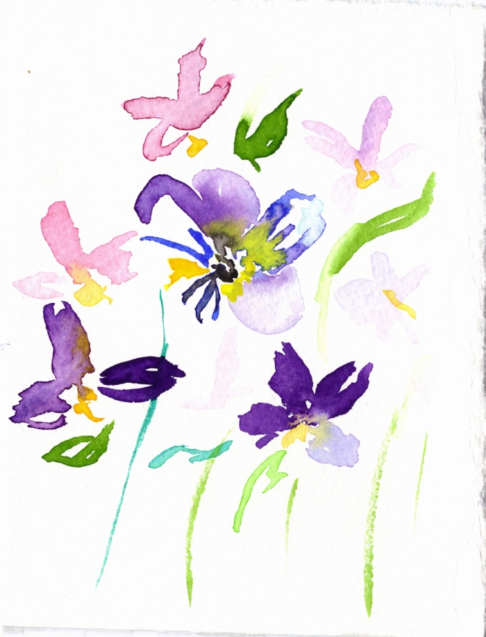 Violets. Watercolor on paper.