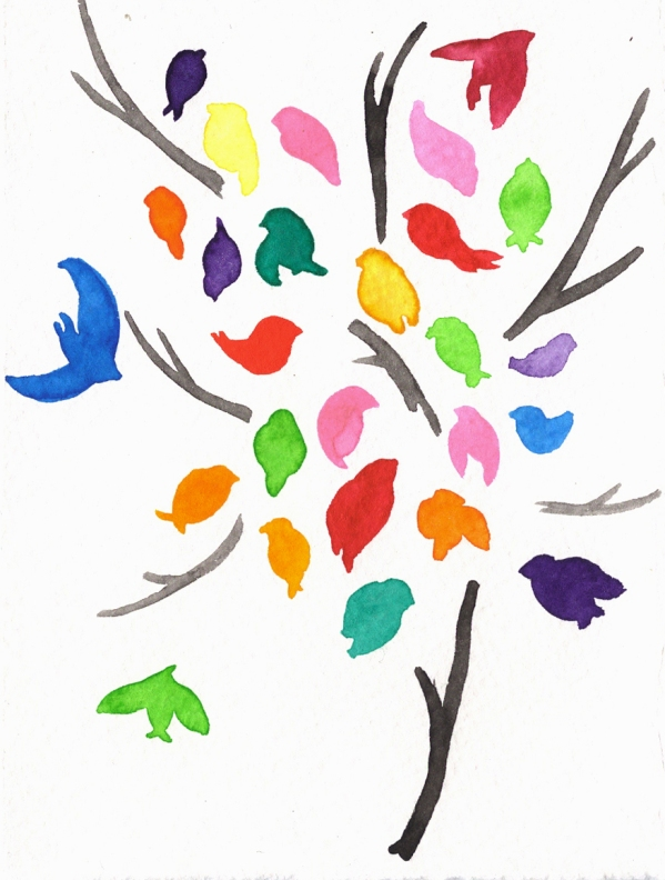 Birdtree. Watercolor on paper.