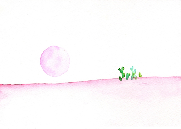 Pink moon. Watercolor on paper.