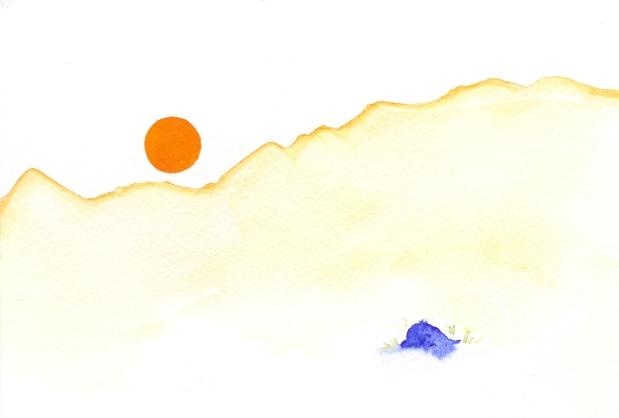 Warm Orange sun. Watercolor on paper.
