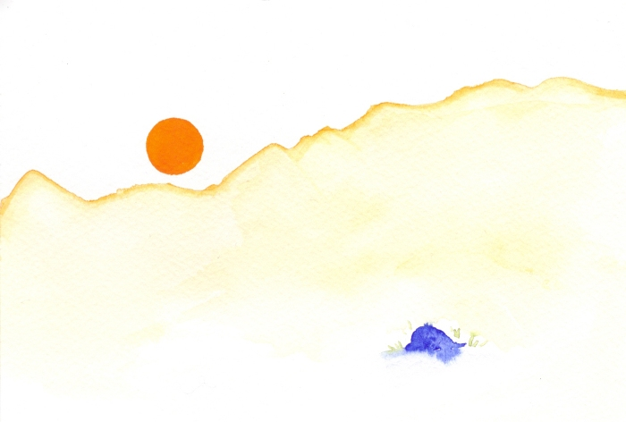 Warm Orange sun. Watercolor on paper.