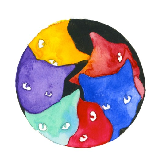 Meow^6. Watercolor on paper.