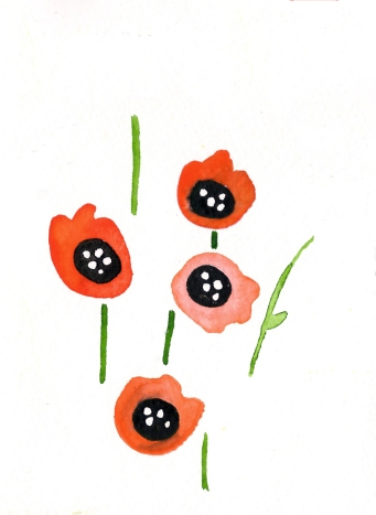 Poppies. Watercolor on paper.