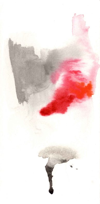 Black with Red. Watercolor on paper.