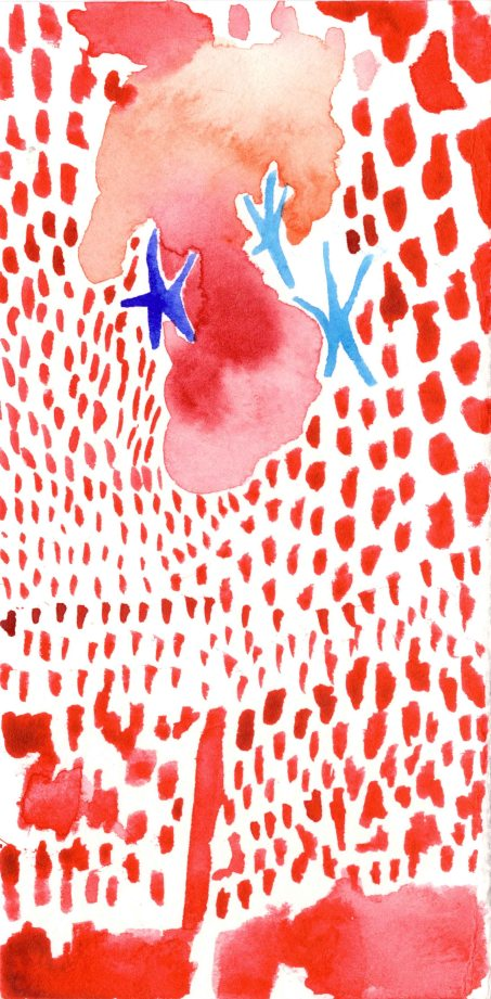Red and Blue. Watercolor on paper.