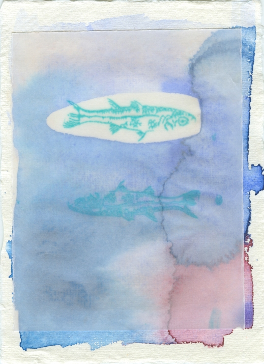 Silk Fish. Silkscreened fish print on a thick vellum, adhered to a watercolor on handmade cotton paper.