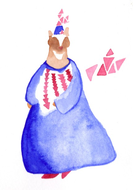 Animal dress 1. Watercolor on paper.