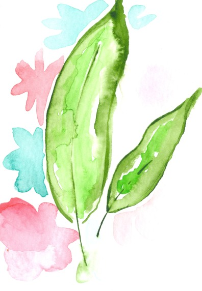 Leaves. Watercolor on paper.