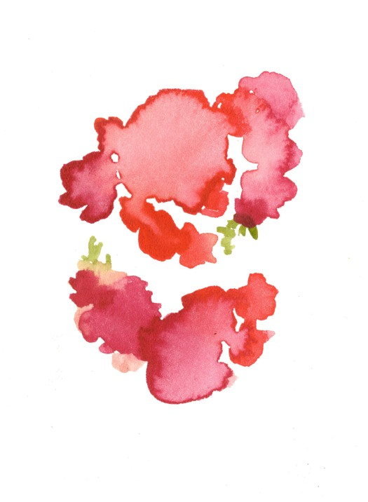 Rose bushes. Watercolor on Paper.
