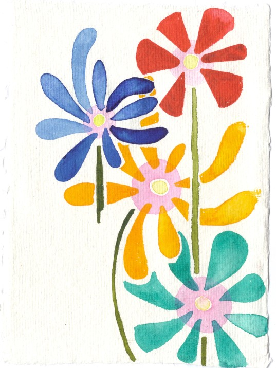 Fun flowers. Watercolor on Indian rag cotton paper.
