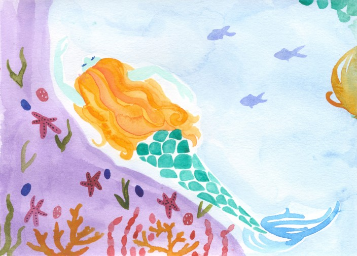 Mermaid. Watercolor on paper.