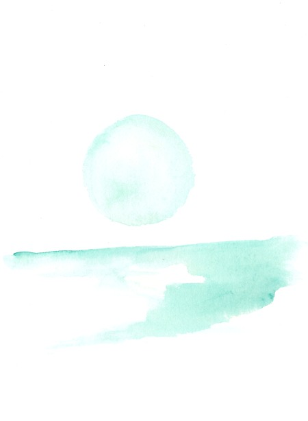 Green moon rising. Watercolor on paper.