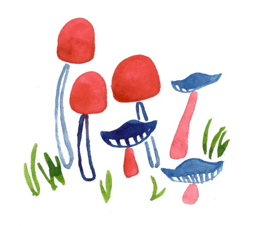 Mushrooms. Watercolor on paper.