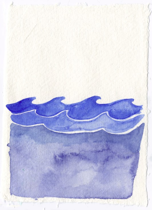 Ocean. Watercolor on handmade 100% recycled Indian cotton rag paper.