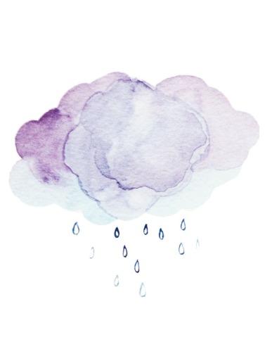 Raincloud. Watercolor on paper.