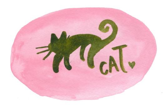 Yuckycat. Watercolor on paper.