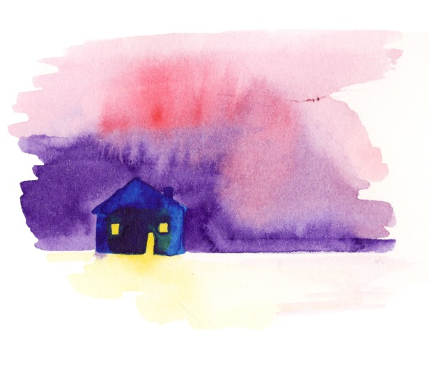 Dark blue house. Watercolor on paper.