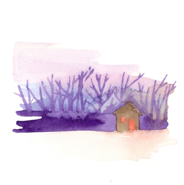 Lit up house. Watercolor on paper.