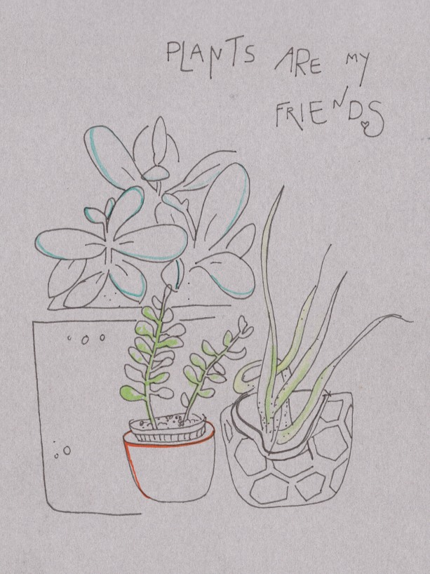 Plants are friends. Watercolor on paper.