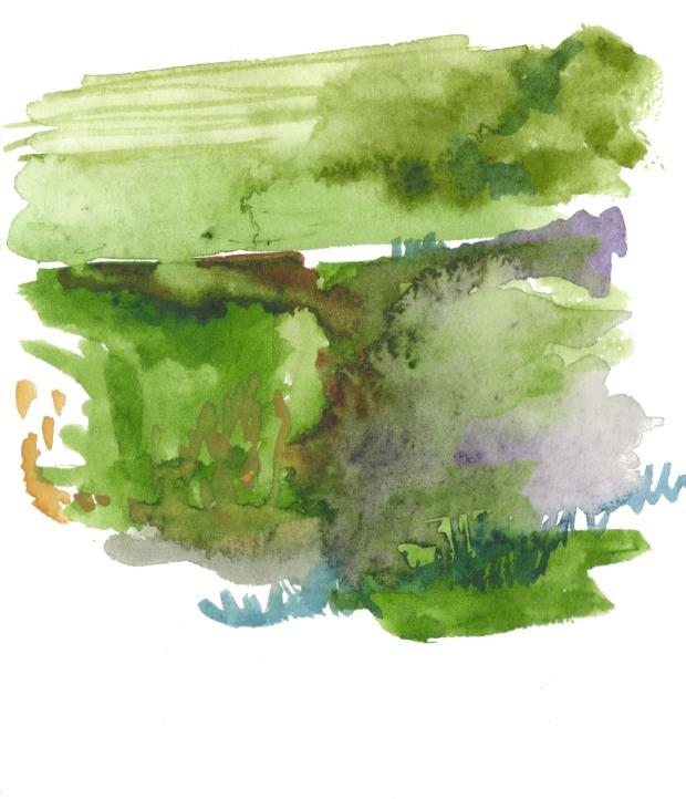 Landscape. Watercolor on paper.